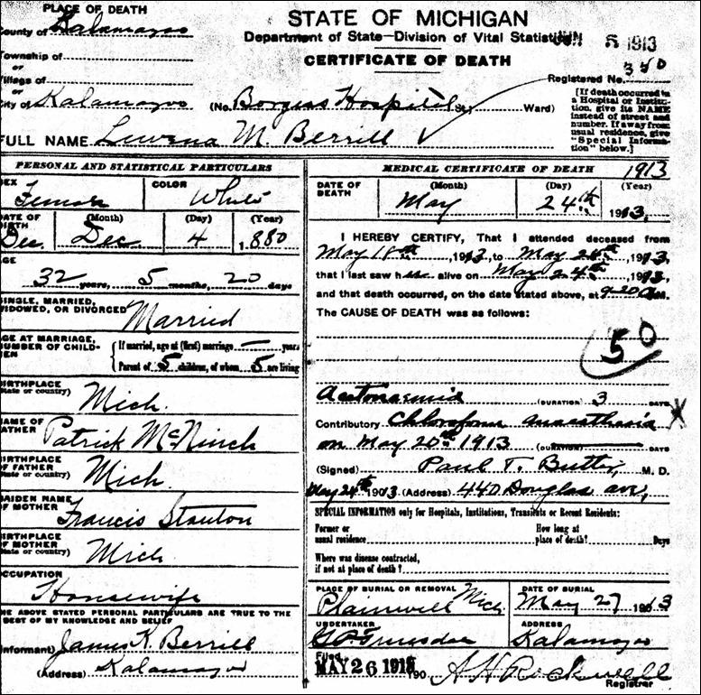 VERRILL_Lovina_Death Certificate_1913_KalamazooMI