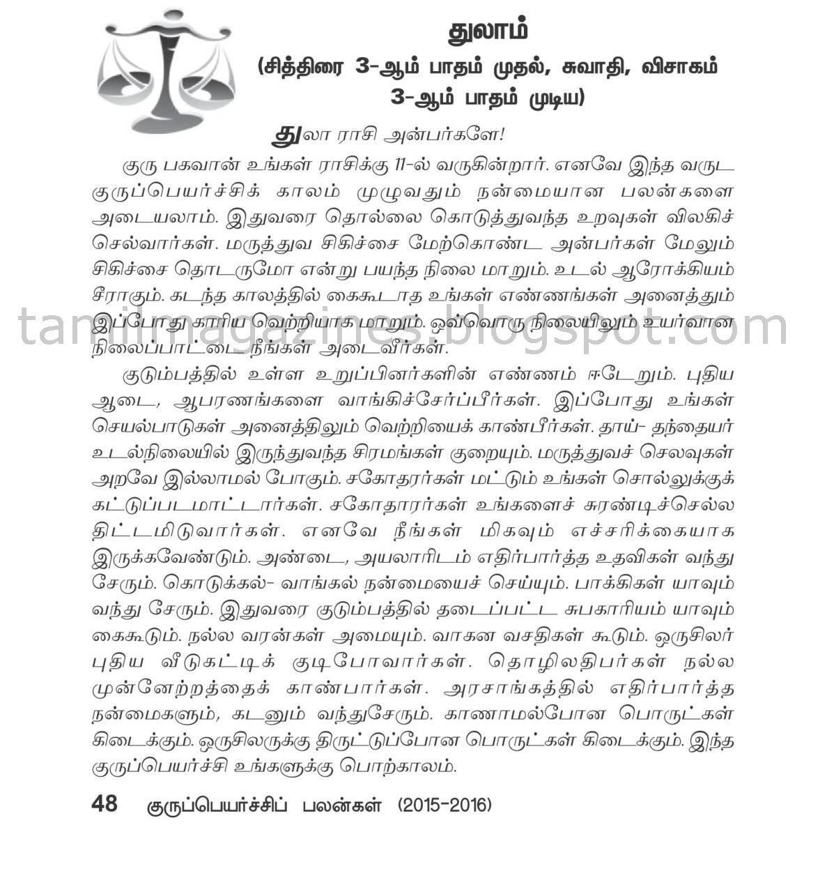 Thulam Guru Peyarchi Palan 2015-2016 Free Online