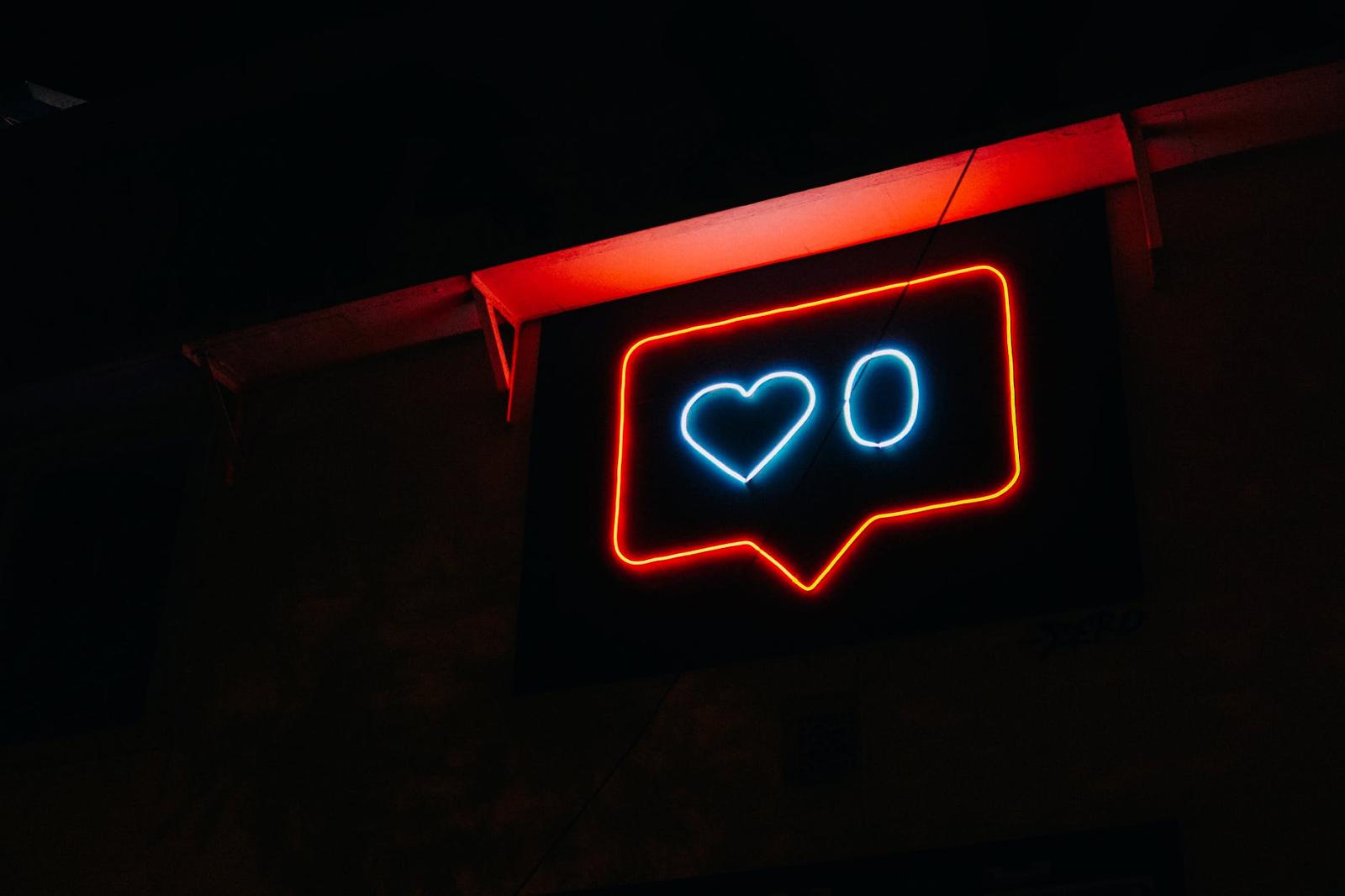 neon sign instagram likes social media