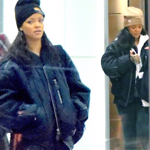 Rihanna in Snap Skull & Silver Spoon Attire Beanies
