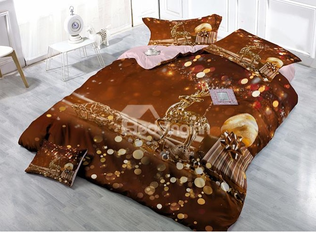 Brown reindeer bedding set