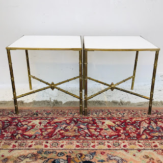 Brass and Vitrolite End Table Pair