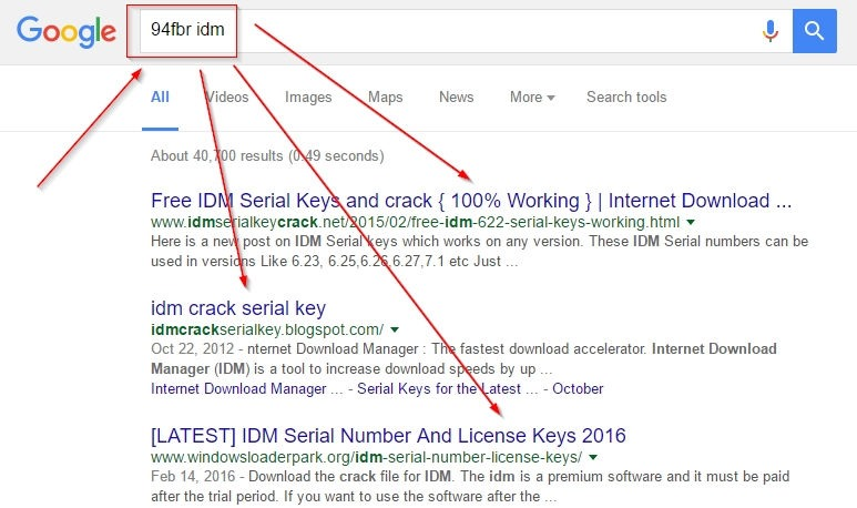 find serial keys using gooogle