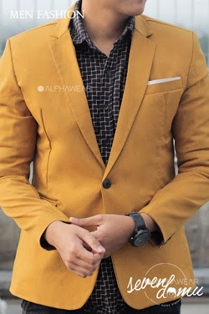 seven domu blazer single button mustard bk04 4