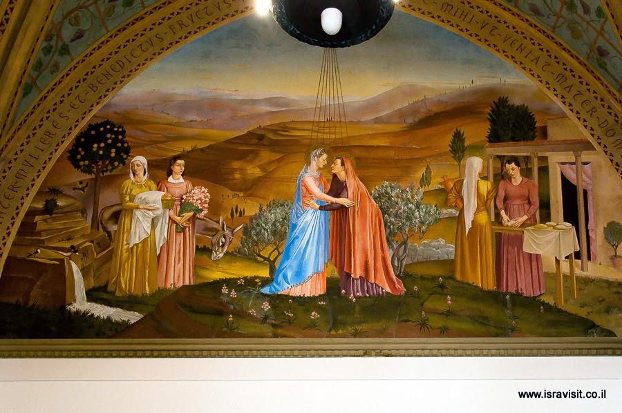 Церковь Посещения в Эйн Карем, нижняя церковь. Картина встречи Марии и Елизаветы.