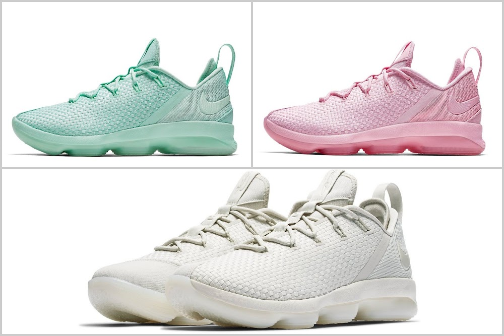 a44d3d7c5203 Nike LeBron 14 Low Summer Lineup Mint Green Prism Pink Light Bone ...