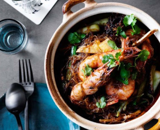 Prawns baked with vermicelli