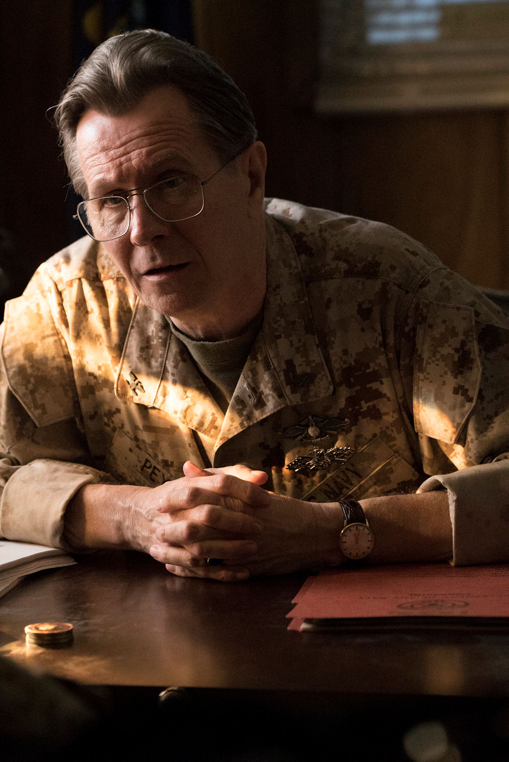 "Gary Oldman stars as ""Captain Peyton"" in MAN DOWN. (Photo courtesy of Lionsgate Premiere)."