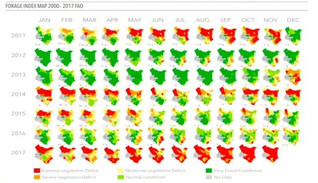 Forage Index map for Kenya, 2000-2016. Graphic: FAO