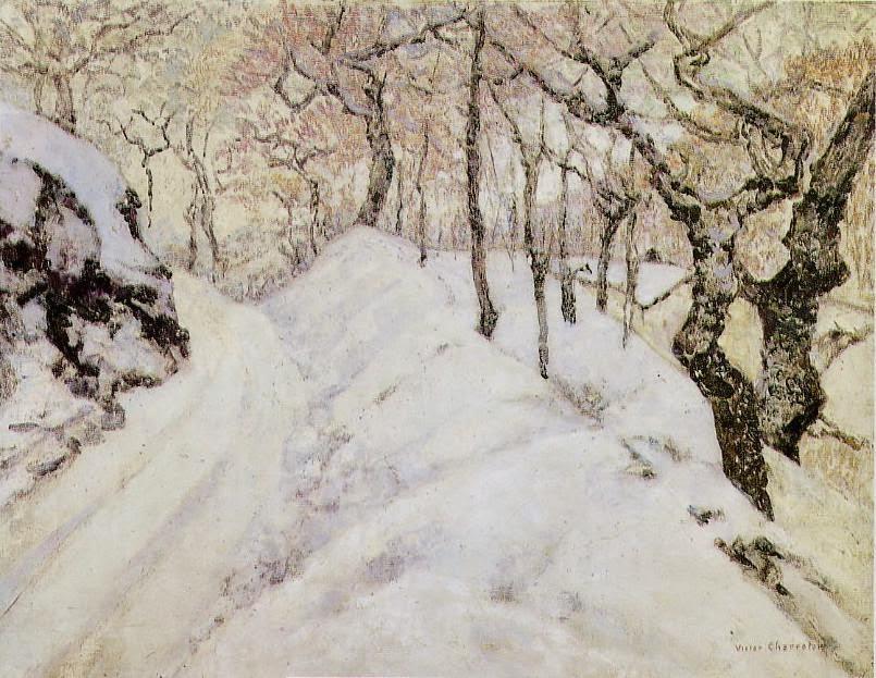 Victor Charreton - Paysage d'hiver sous la neige