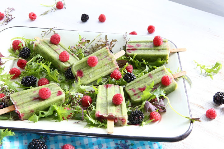 Green Smoothie Raspberry Popsicles