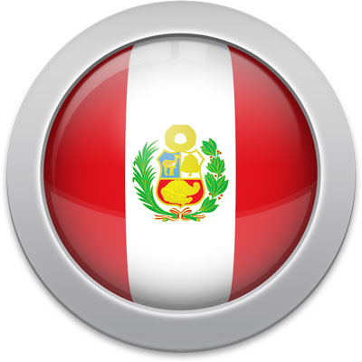 Peruvian flag icon with a silver frame