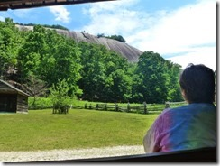 Nice view of Stone Mountain from a bench at the barn