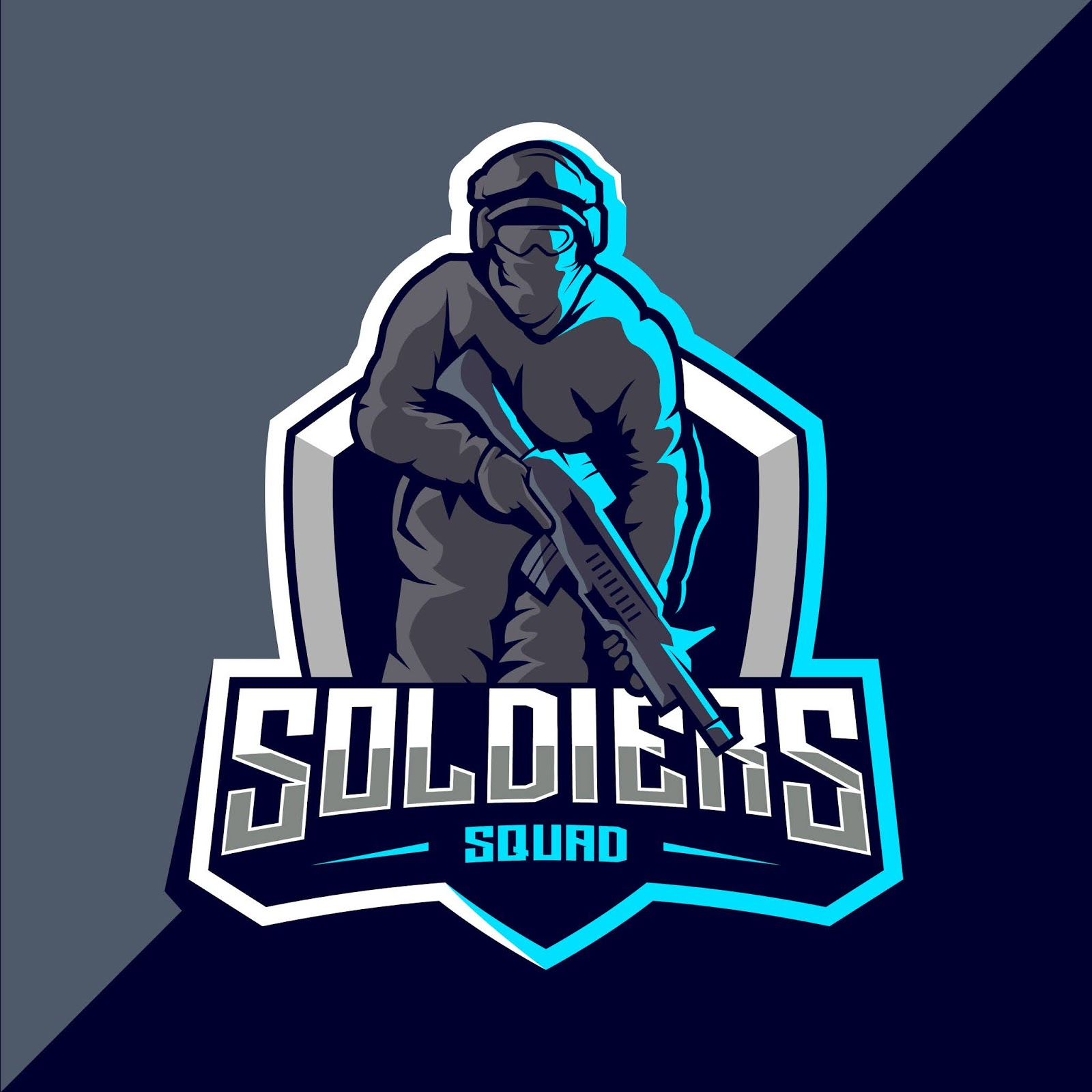 Soldier Mascot Esport Logo Design Free Download Vector CDR, AI, EPS and PNG Formats