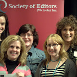 Accredited Editors (L to R) Joely Taylor, Karyn Noble, Sarah Norman, Carolyn Leslie, Kristy Burt, Scharlaine Cairns, Melanie Sheridan