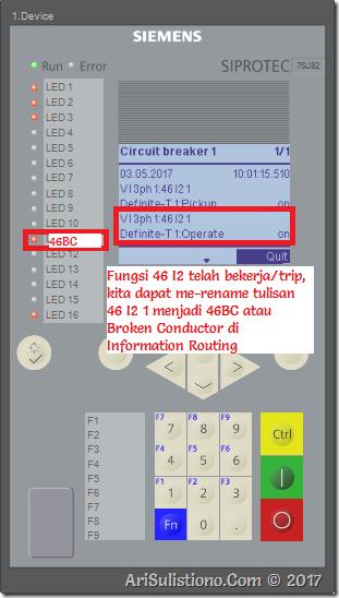 Upload setting ke Relay 7SJ82 dan Inject - Hasilnya relay trip 46BC sesuai setting