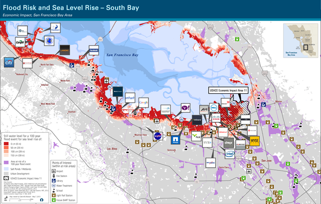Flood Risk and Sea Level Rise in South Bay, San Francisco, California. The pink and red areas of this map show areas of the South Bay that are vulnerable to sea level rise. The pink zone shows a 16-inch rise; the red zone shows those areas within a 55-inch rise. As shown, the offices of numerous Silicon Valley firms lie within or near these zones. The purple indicates those areas vulnerable to a 100-year flood, or a flood that has a 1% chance of occurring in any given year. Map produced by GreenInfo Network. Data from Knowles 2008, Seigel and Bachand 2002, FEMA, and California GAP 2009. Graphic: South San Francisco Bay Shoreline Study