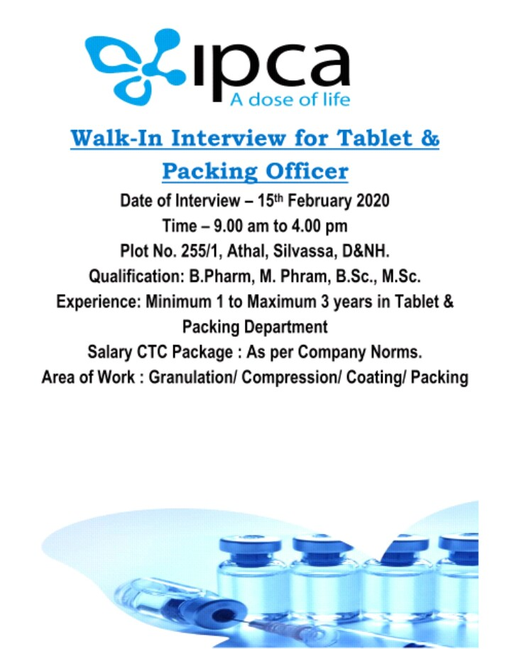 Ipca Laboratories Ltd - Walk in interview for Production & Packing Department on 15th Feb 2020