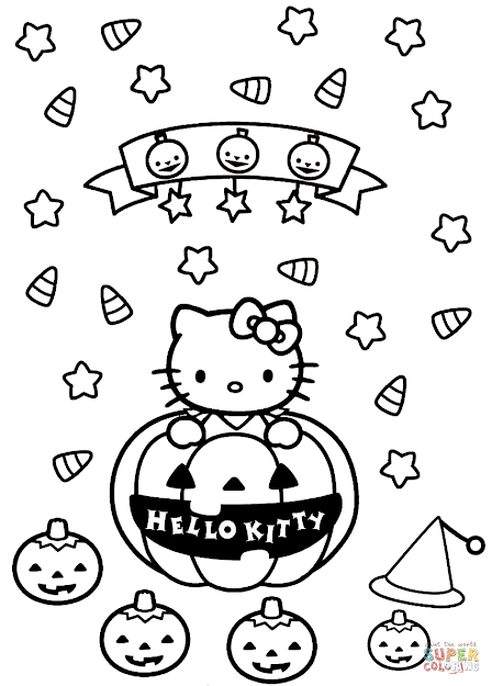 Click The Hello Kitty Halloween Coloring Pages