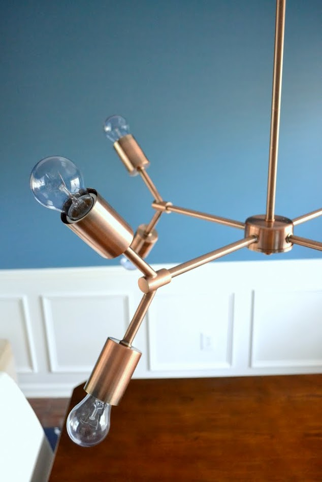 dining room copper light fixture