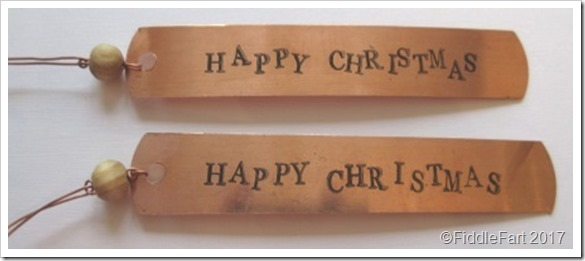 Stamped Copper Christmas Tags