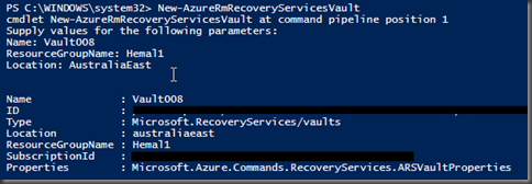 Hemal Ekanayake: Azure Recovery service Vault creation error