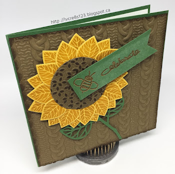 Linda Vich Creates: Thoughtful Branches Sunflower. A cheerful sunflower created with the Thoughtful Branches stamp set rests upon a cable knit matte in this cheerful birthday card.