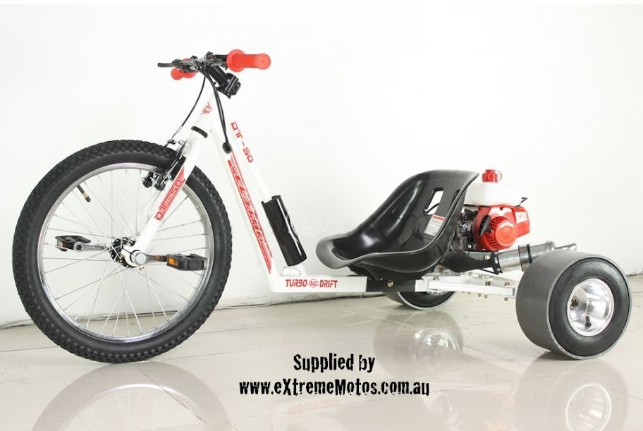 Drift Trike Petrol Powered Motorised Slider Drifting Tricycle bike for sale White