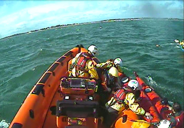 Both Poole lifeboats assist a group of kayakers off Hook Sands - 12 April 2015