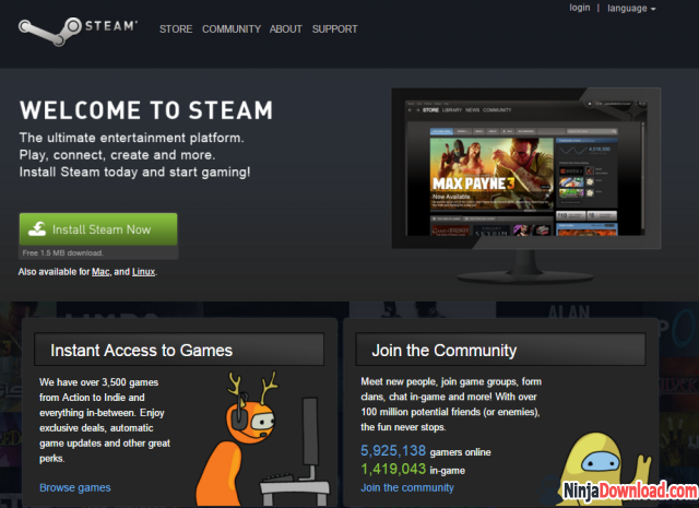 Steam homepage