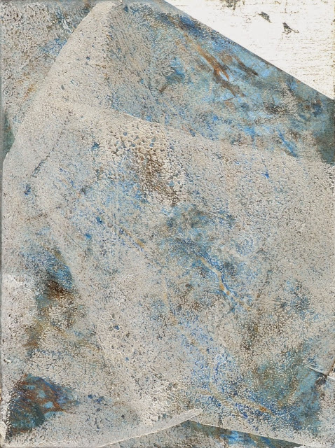 "'Sea Scrape-Foam' 3""x4"" montype,oil and sterling silver leaf on panel"
