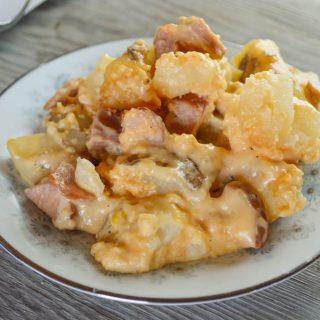 Crock Pot Cheesy Smoked Sausage and Potato Bake.