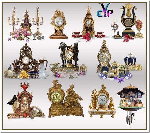 Antique clock design clipart