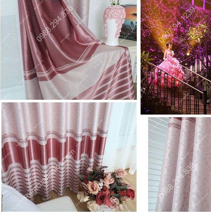 Rèm cửa cao cấp đẹp một màu có diềm hồng 4