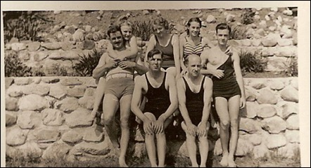 GOULD_Harry W_wife Marie_son H Norman and his wife Elaine_in swim suits at a lake_circa 1933-35