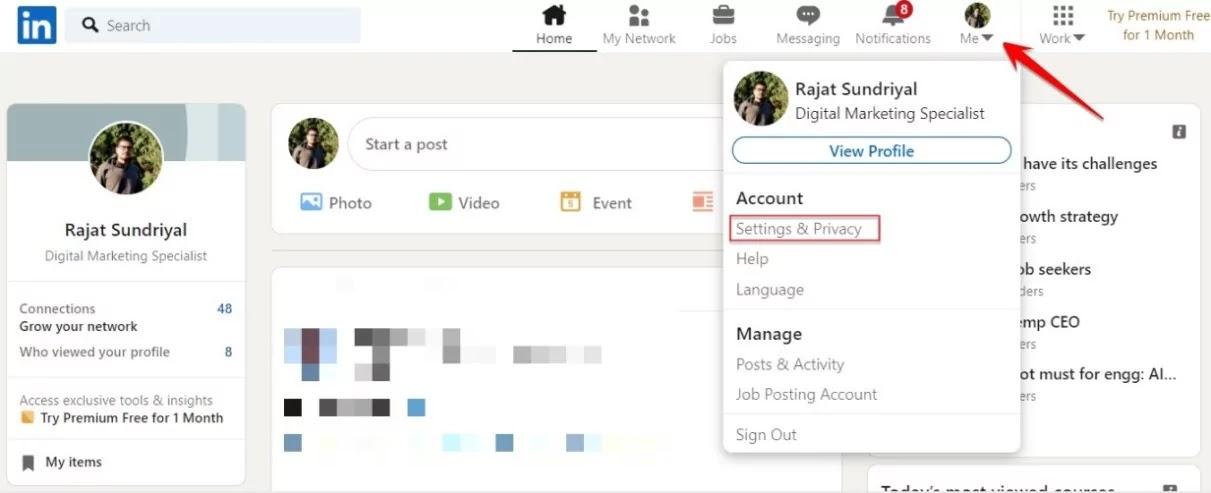 Activation Steps for LinkedIn Private Mode In Desktop