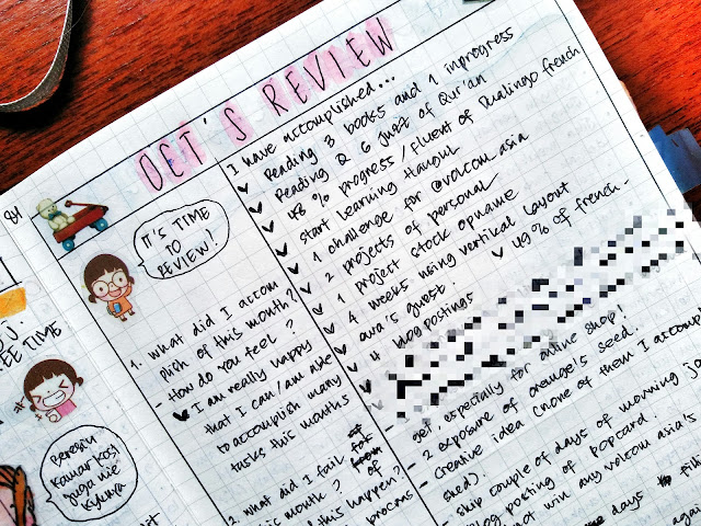 contoh monthly review pada bujo