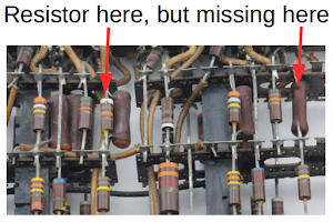 The arrow shows one of the missing resistors in the tube module.