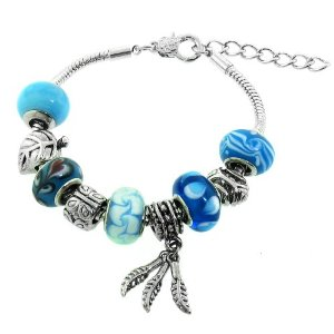 Light Blue Murano Style Glass Beads and Charm Bracelet