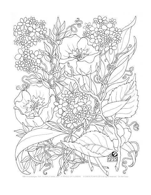 Adult Coloring  Adult Coloring Pages Tangle Of Flowers Set Of  By  Emerlyearts