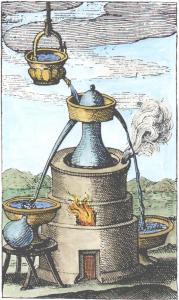 17th Century Engraving Of Distillation Apparatus, Alchemical And Hermetic Emblems 2
