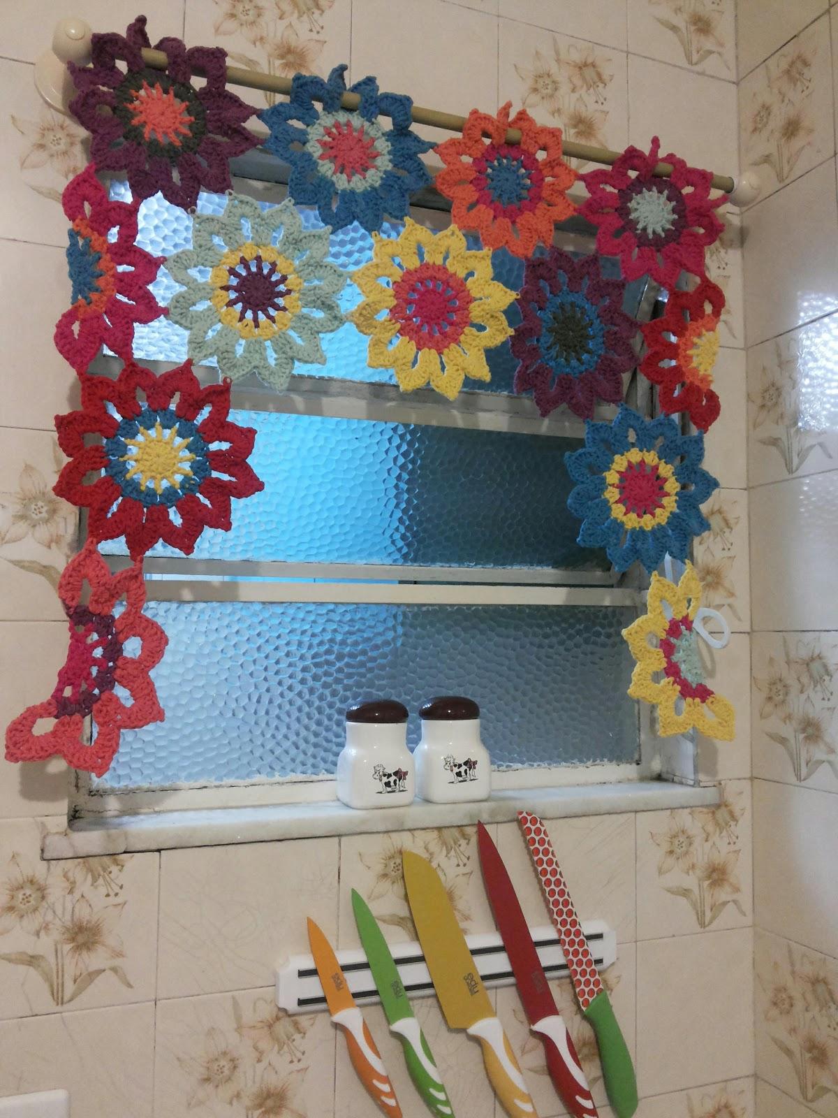 Cortina Flores Em Croch Aztop Crochet