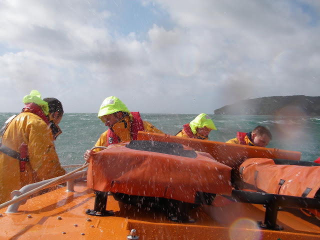 11 September 2011 - the crew getting caught by spray in Swanage Bay!