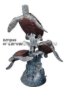 Bronze, Fountain, Sea, Statue, Turtles