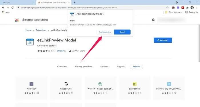 معاينة الروابط Chrome Web Add Extension Browser