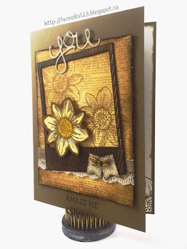 Linda Vich Creates: Revving Up For Retirement. Vintage look is achieved with the use of neutral inks and embellishments in this Petal Potpourri card.
