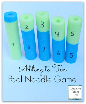 Pool Noodle Addition Math Game - this is such a fun, clever way for kids to practice counting and visualizing addition for preschool, prek, kindergarten, first grade.