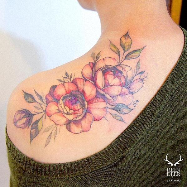 este_incrvel_ombro_aquarela_flor_da_tatuagem