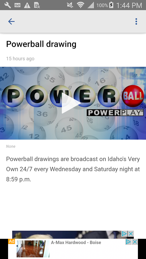 Idaho lottery numbers from KTVB- screenshot