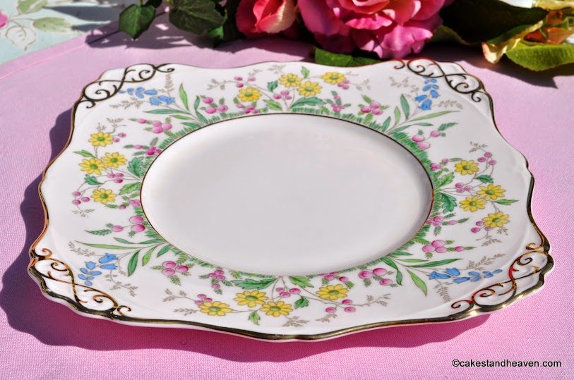 Tuscan hand painted vintage fine china cake plate